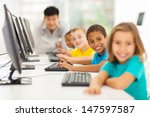 smiling group children in... | Shutterstock . vector #147597587
