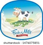 cow in frame  in a cartoon... | Shutterstock .eps vector #1476075851