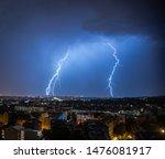 Lightning Storm In City Of...