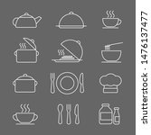 kitchen icons set  white on a... | Shutterstock . vector #1476137477
