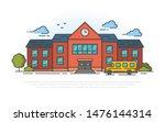 school building and bus. vector ... | Shutterstock .eps vector #1476144314