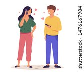 a woman and a man standing... | Shutterstock .eps vector #1476167984