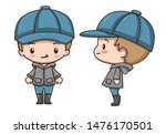 Vector illustration of cute chibi character isolated on white background.  Cartoon little boy in grey coat, blue jeans, boots and cap. Front view and side view.