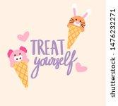 cute ice cream cone with kawai...   Shutterstock .eps vector #1476232271