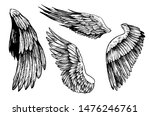 sketch of wings. hand drawn... | Shutterstock .eps vector #1476246761