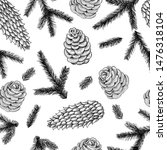 seamless pattern cones and pine ... | Shutterstock .eps vector #1476318104