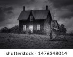 Spooky Abandoned House In Blac...