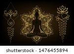 woman ornate silhouette sitting ... | Shutterstock .eps vector #1476455894