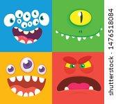 cartoon monster faces set.... | Shutterstock .eps vector #1476518084