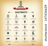 Electricity Icons Retro Versio...