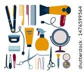 hairdresser elements set vector ... | Shutterstock .eps vector #1476599564