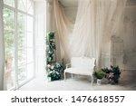 Vintage White Sofa Decorated...