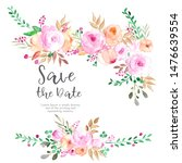 hand painted floral elements... | Shutterstock . vector #1476639554