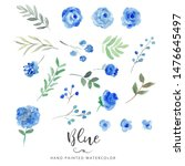 hand painted floral elements...   Shutterstock . vector #1476645497