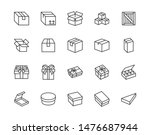 box flat line icon set. carton  ... | Shutterstock .eps vector #1476687944