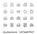 houses flat line icons set.... | Shutterstock .eps vector #1476687947