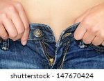 weight gain woman getting... | Shutterstock . vector #147670424