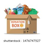 cardboard donation box full of... | Shutterstock .eps vector #1476747527