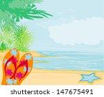 flip flops and seashell on the... | Shutterstock .eps vector #147675491