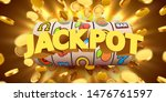 slot machine with flying golden ... | Shutterstock .eps vector #1476761597