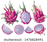 set of pink dragon fruits ... | Shutterstock .eps vector #1476828491