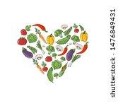 colored doodle vegetables... | Shutterstock .eps vector #1476849431
