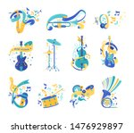 musical instruments and notes... | Shutterstock .eps vector #1476929897