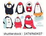 hand drawn vector set of cute... | Shutterstock .eps vector #1476960437