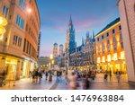 Munich skyline with  Marienplatz town hall in Germany
