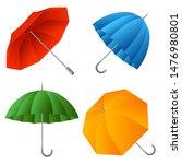 set of color umbrella. cartoon... | Shutterstock .eps vector #1476980801
