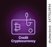 bitcoin credit outline icon in...