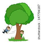 man swinging   cartoon business ... | Shutterstock .eps vector #147706187