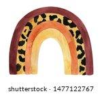 watercolor rainbow with leopard ... | Shutterstock . vector #1477122767