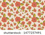 playful floral seamless vector... | Shutterstock .eps vector #1477257491