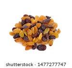 Dried Raisins On White...