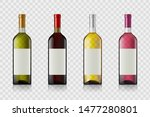 set of wine bottles with blank...