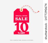 10  off sale discount price tag ... | Shutterstock .eps vector #1477290674
