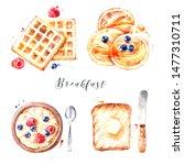 watercolor hand drawn breakfast ... | Shutterstock . vector #1477310711