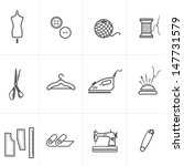 Fashion collection and scratched sewing and tailoring related symbols icons set. - stock vector