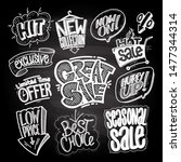 hand drawn sale signs and... | Shutterstock .eps vector #1477344314