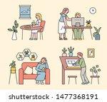 indoor plant pot decoration.... | Shutterstock .eps vector #1477368191