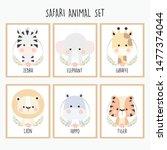 cute animal poster set for kids | Shutterstock .eps vector #1477374044