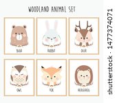 cute animal poster set for kids | Shutterstock .eps vector #1477374071