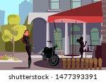 female biker outside cafe flat... | Shutterstock .eps vector #1477393391