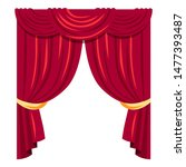 luxurious red curtains flat... | Shutterstock .eps vector #1477393487
