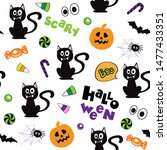 black cat  pumpkin and candy on ... | Shutterstock .eps vector #1477433351