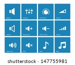 speaker icons on blue...
