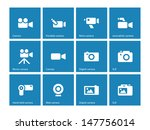 camera icons on blue background....