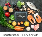 Small photo of Food rich in collagen. Various food ingredients and chalkboard with Collagen letters over dark background. Top view or flat lay