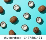 creative layout of coconuts... | Shutterstock . vector #1477581431